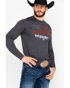 Wrangler Men's American Flag Long Sleeve, Charcoal, hi-res
