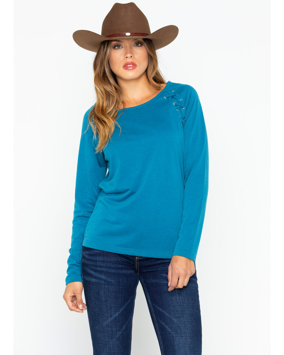 Ariat Women's Teal Tied Top , Teal, hi-res