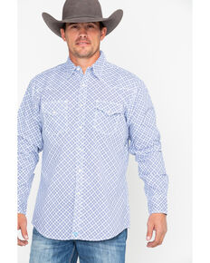 Wrangler 20X Men's Diamond Geo Advanced Comfort Long Sleeve Western Shirt, Blue/white, hi-res