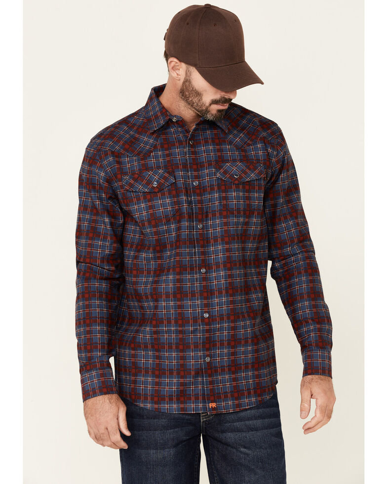 Cody James Men's FR Indigo Plaid Long Sleeve Work Shirt , Indigo, hi-res