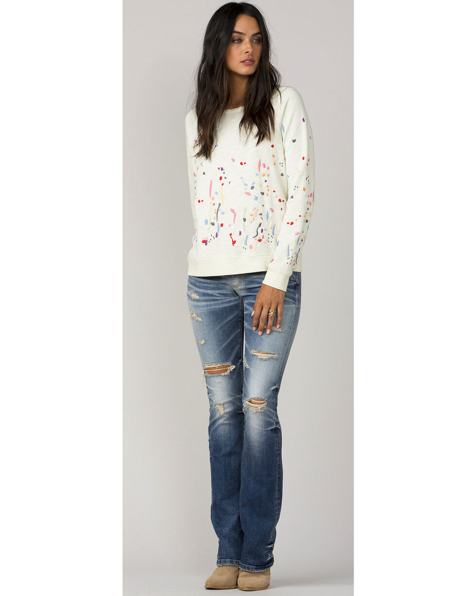 MM Vintage White Paint Splatter Long Sleeve Sweater, White, hi-res
