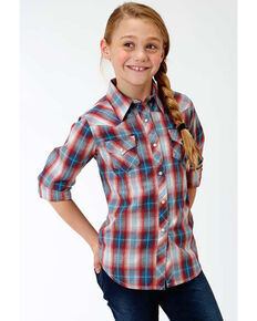 Roper Girls' Red Plaid Long Sleeve Western Shirt, Red, hi-res