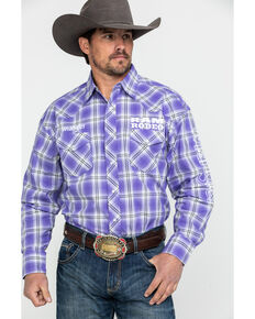 Wrangler Men's Ram Logo Med Plaid Long Sleeve Western Shirt , Purple, hi-res