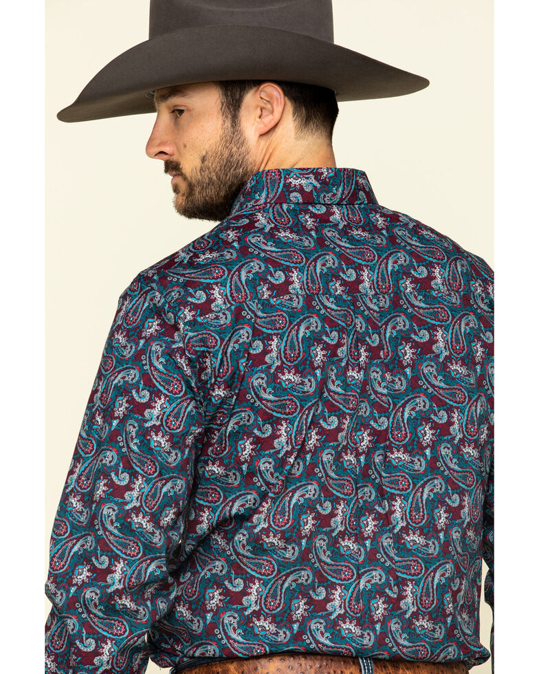 Cody James Core Men's Good Ol' Boy Paisley Print Long Sleeve Western Shirt , Blue, hi-res