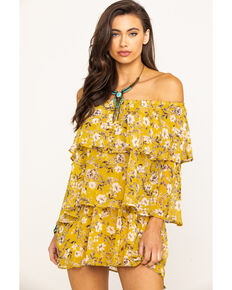 Show Me Your Mumu Women's Flirtin' Floral Triple Decker Romper  , Dark Yellow, hi-res