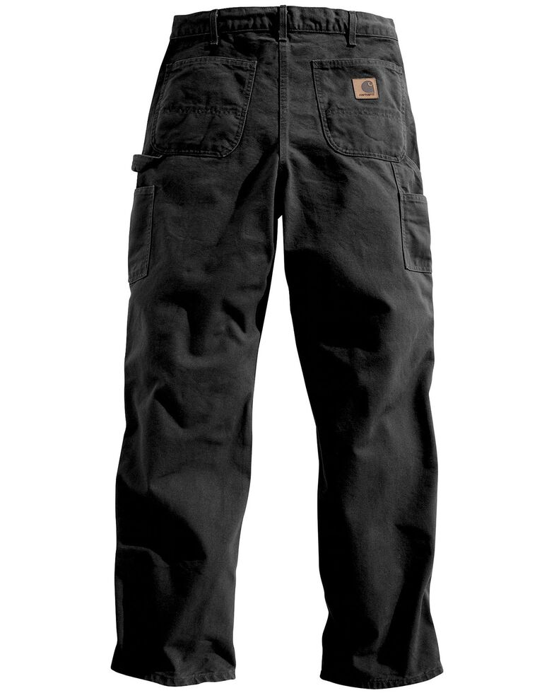 Carhartt Weathered Duck Dungaree Fit Khaki Work Pants, Black, hi-res