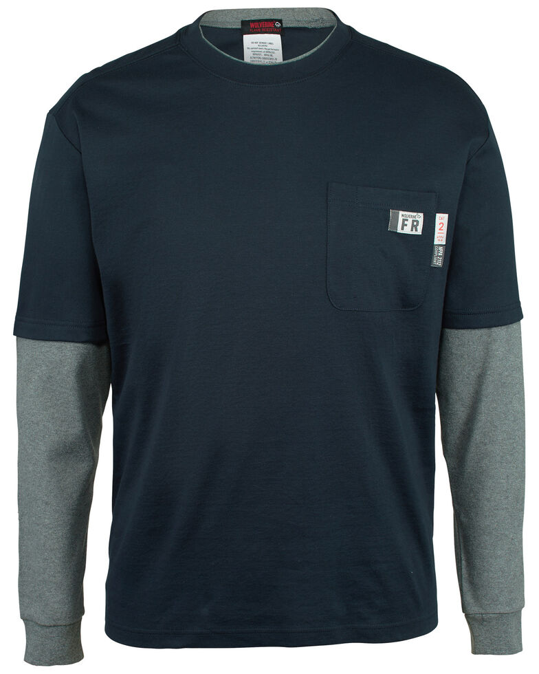 Wolverine Men's FR Navy Miter Long Sleeve Work T-Shirt , Navy, hi-res