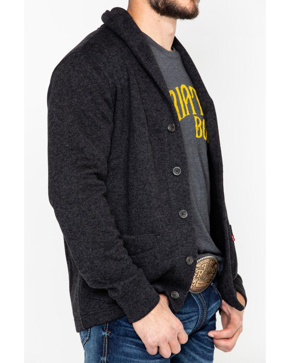 Levis Men's Solid Fleece Button Front Sweater, Black, hi-res