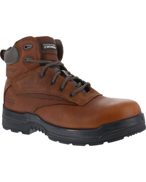 """Rockport More Energy Deer Tan 6"""" Lace-Up Work Boots - Composition Toe, Brown, hi-res"""