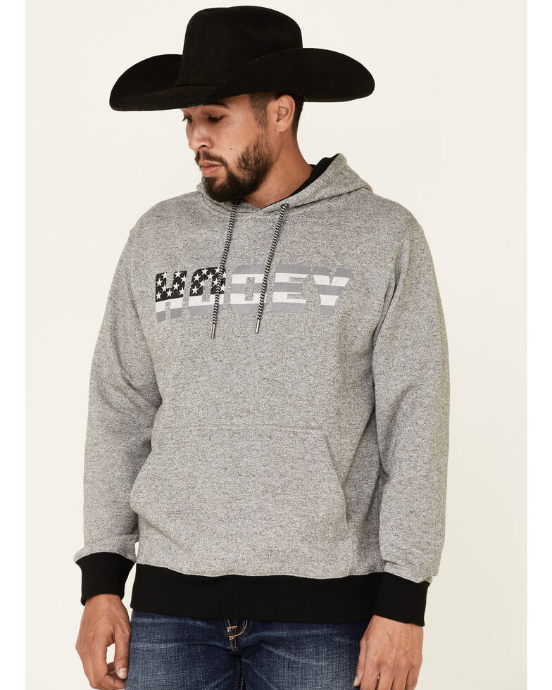HOOey Men's Grey Patriot Flag Logo Graphic Hooded Sweatshirt , Grey, hi-res