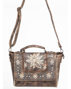 Shyanne Womens Embroidered Fl Satchel Coffee Hi Res