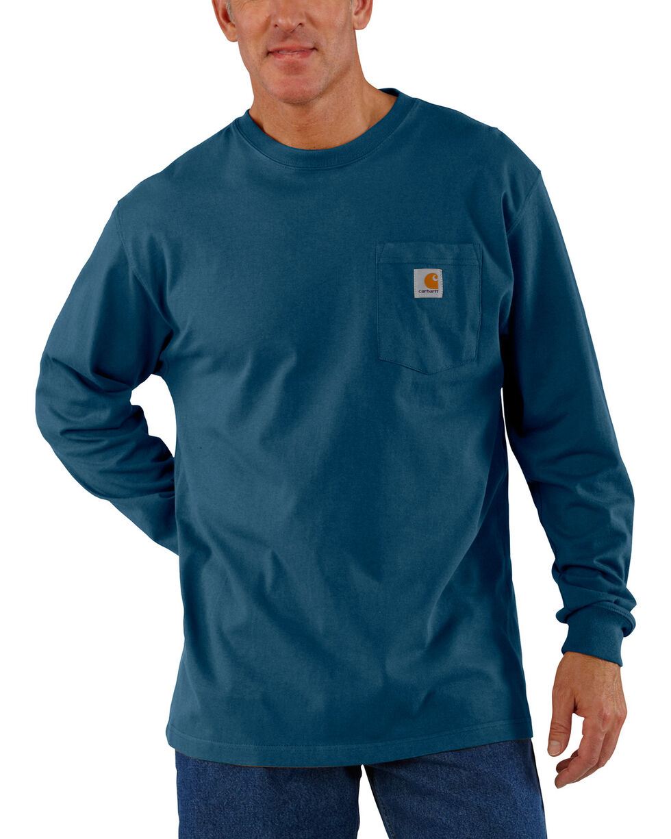 Carhartt Men's Long Sleeve Work T-Shirt, Blue, hi-res