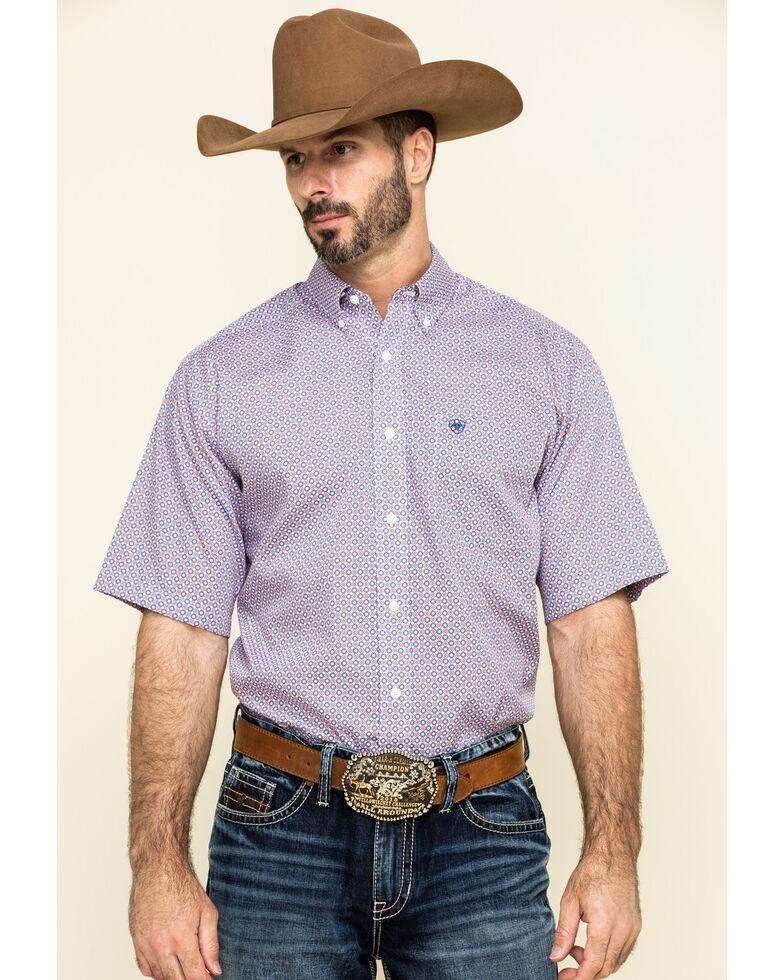 Ariat Men's Wrinkle Free Perry Geo Print Short Sleeve Western Shirt , Multi, hi-res