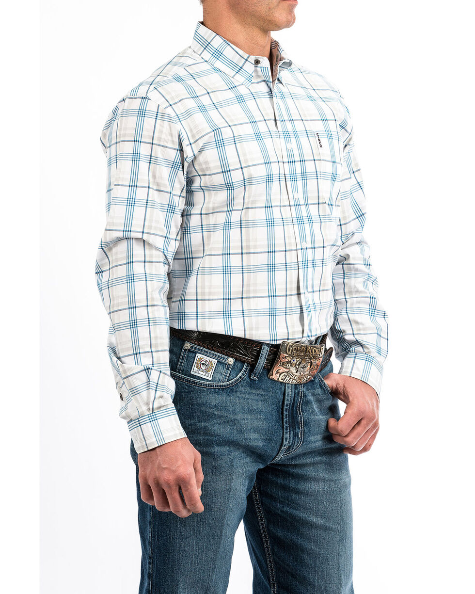 Cinch Men's White Modern Plaid Long Sleeve Western Shirt , White, hi-res