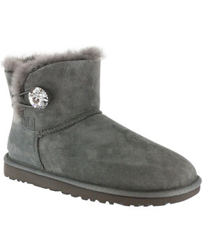 UGG Australia Women's Grey Mini Bailey Button Boots - Round Toe  , Grey, hi-res