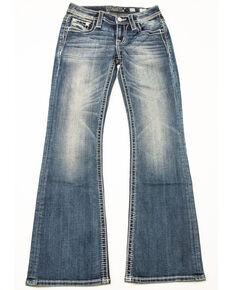 Miss Me Girls' Aztec Bling Pocket Bootcut Jeans, Blue, hi-res