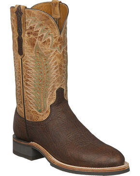 Lucchese Men's Handmade Wyatt Brown/Tan Bull Shoulder Rubber Outsole Western Boots - Round Toe, Brown, hi-res