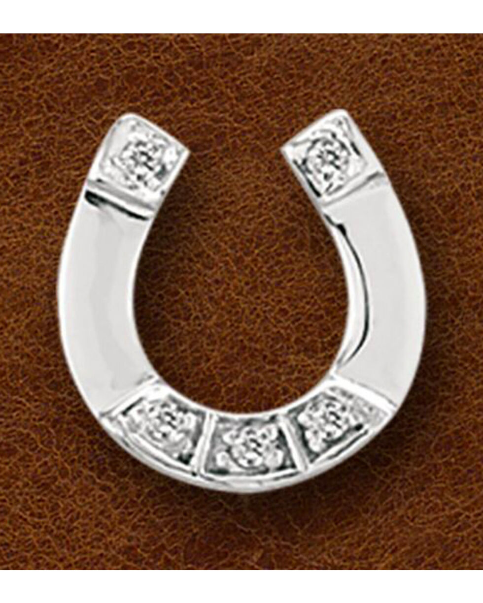 Kelly Herd Sterling Silver Cubic Zirconia Horseshoe Pendant, Silver, hi-res