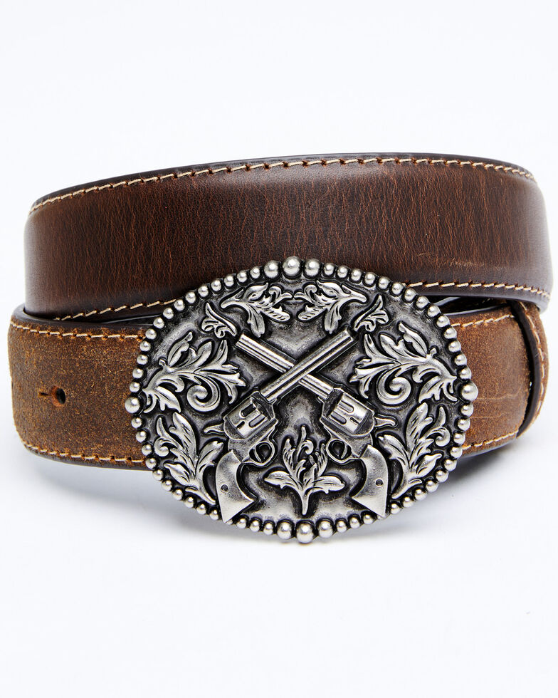 Cody James Boys' Crossed Pistols Western Belt, Brown, hi-res