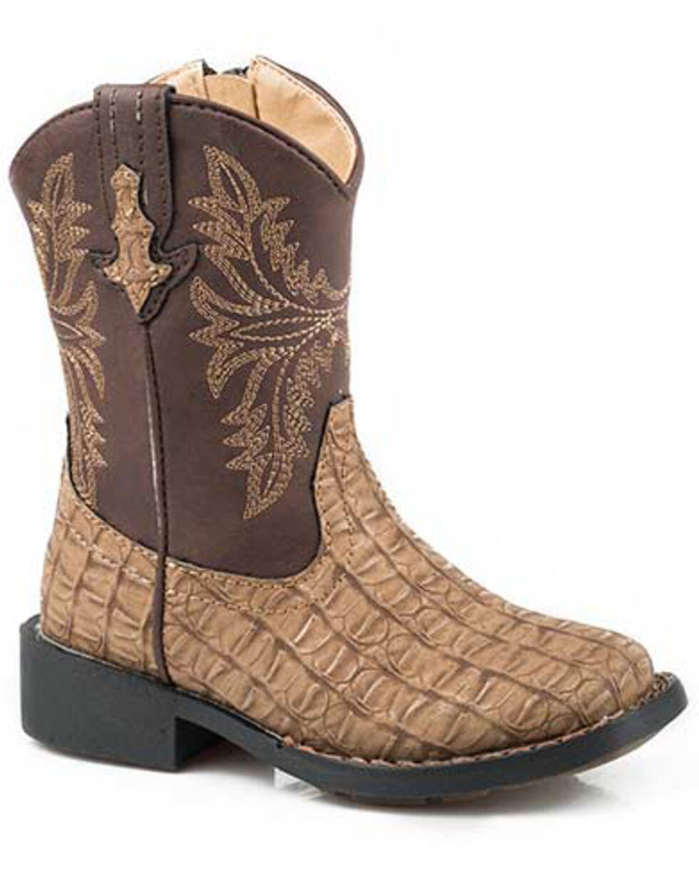 Roper Boys' Chomp Western Boots - Square Toe, Tan, hi-res