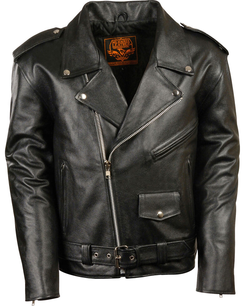 Milwaukee Leather Men's Black Classic Police Style M/C Jacket - Big 5X , Black, hi-res