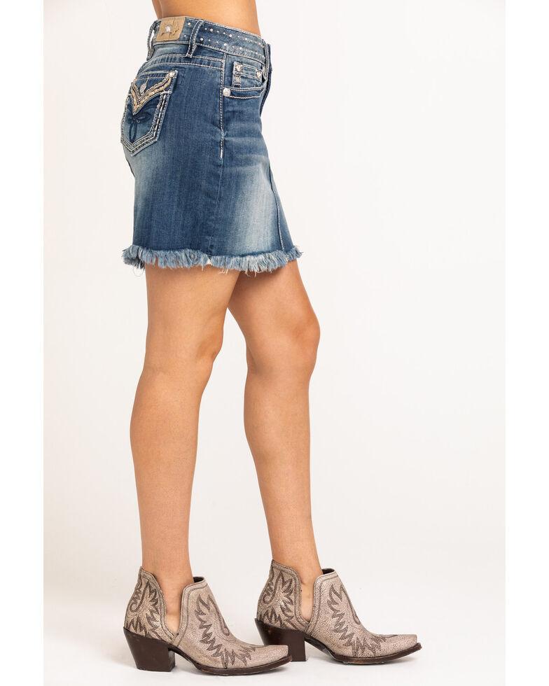 Miss Me Women's Studded Denim Skirt , Blue, hi-res