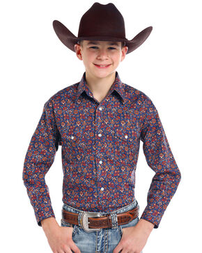 Roughstock by Panhandle Boys' Galena Vintage Print Long Sleeve Western Shirt, Navy, hi-res