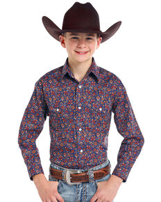 Roughstock by Panhandle Boys' Galena Vintage Print Long Sleeve Western Shirt, Navy, hi-res