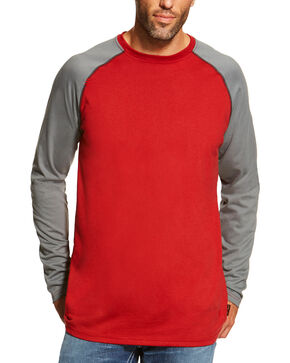 Ariat Men's Red FR Baseball Tee, Red, hi-res