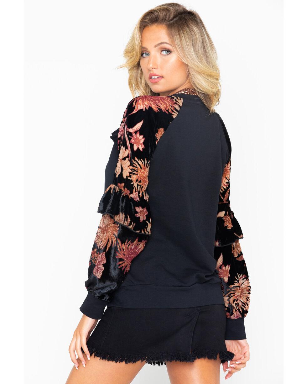 Miss Me Women's Velvet Sleeve Raglan Sweater, Black, hi-res