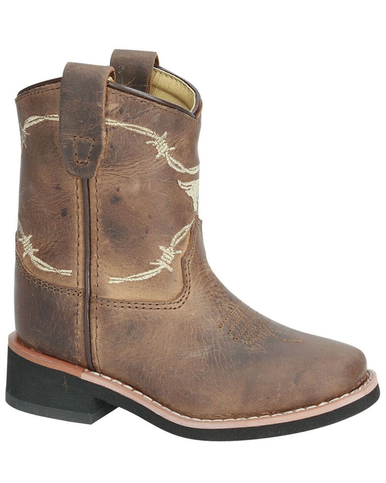 Smoky Mountain Boys' Logan Western Boots - Square Toe, Brown, hi-res