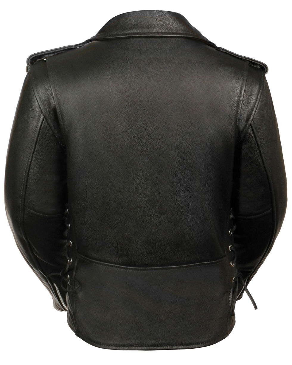 Milwaukee Leather Women's Full Length Side Lace Leather Motorcycle Jacket - 4X, Black, hi-res