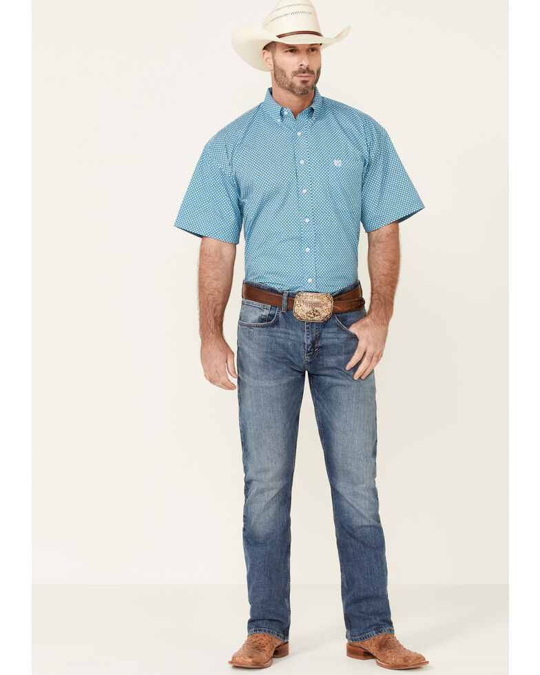 Panhandle Select Men's Turquoise Small Geo Print Short Sleeve Button-Down Western Shirt , Blue, hi-res