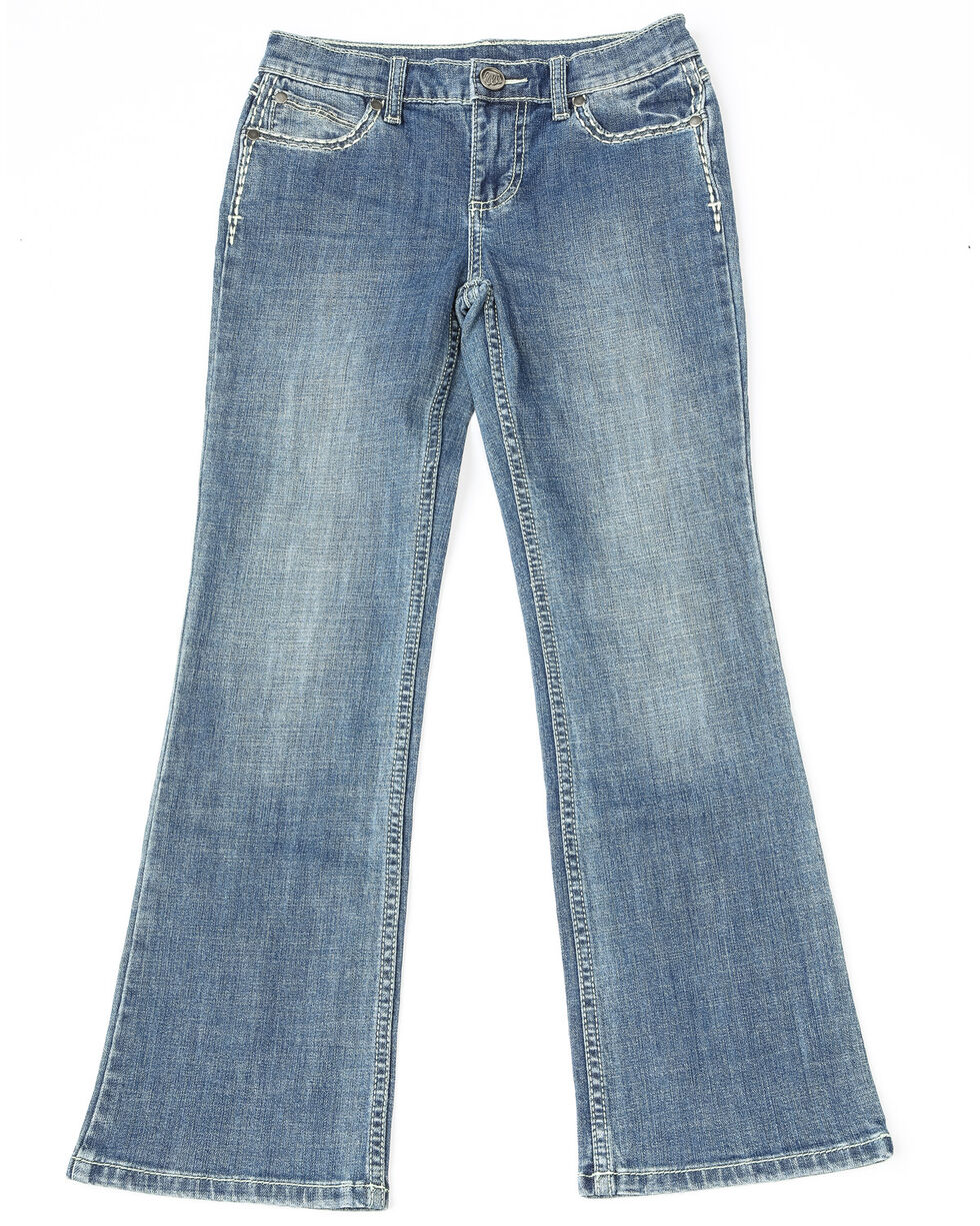 Wrangler Girls' Aztec Pocket Ultimate Riding Boot Jeans , Medium Blue, hi-res