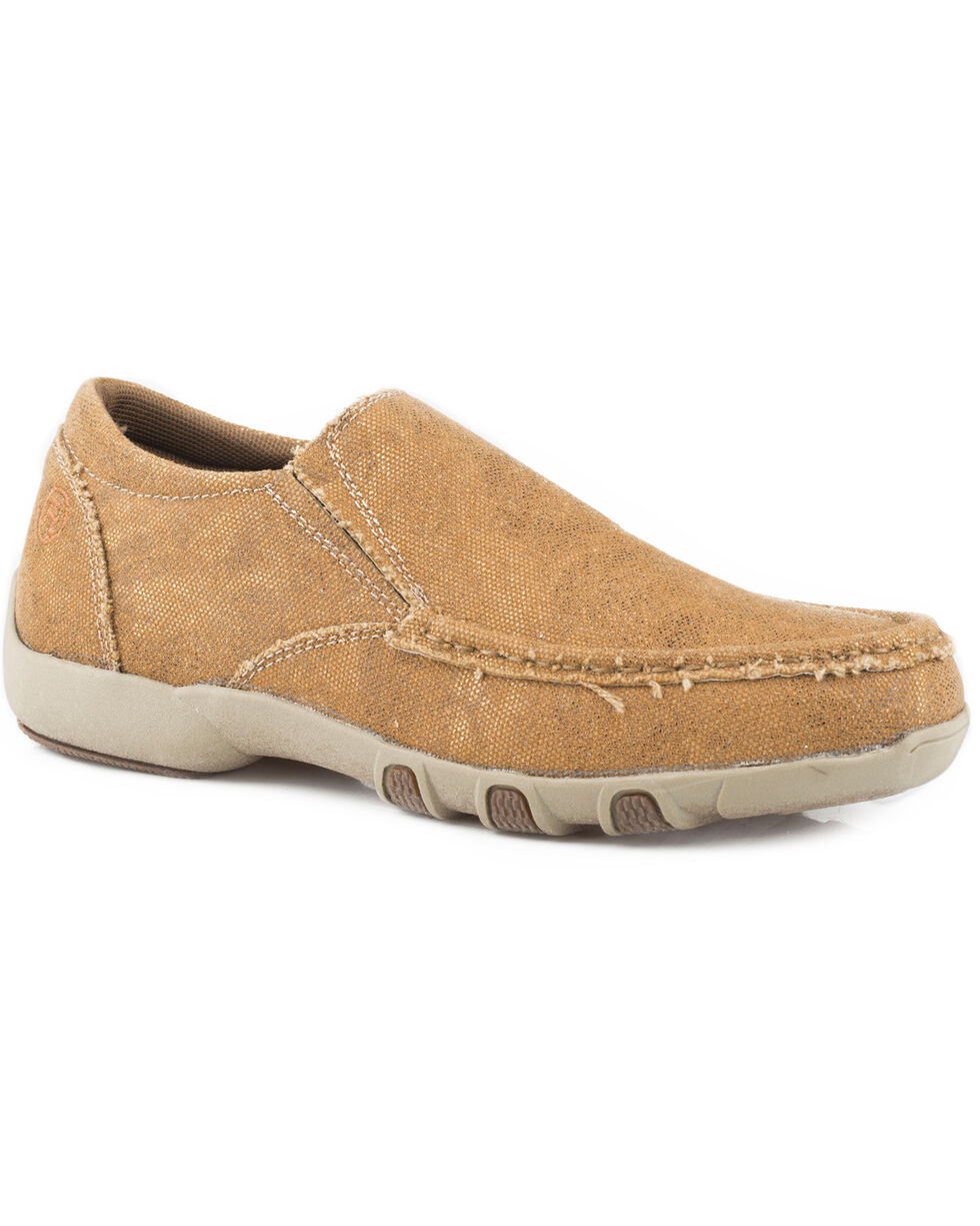 Roper Women's Johnnie Slip-On Shoes - Round Toe, Tan, hi-res