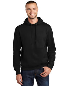 Port & Company Men's Jet Black Essential Hooded Work Sweatshirt - Tall , Jet Black, hi-res