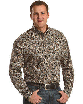 Stetson Men's Black Paisley Print Western Shirt , Black, hi-res