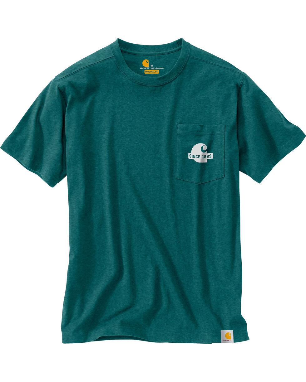 Carhartt Men's Green Maddock Block Lettering Pocket Tee , Green, hi-res
