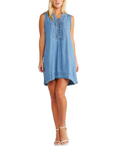 Silver Women's Indigo Lace Up Denim Dress , Indigo, hi-res