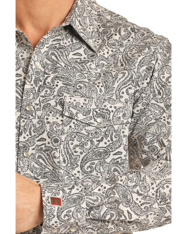 Rock & Roll Cowboy Men's FR Printed Paisley Twill Long Sleeve Work Shirt , Silver, hi-res