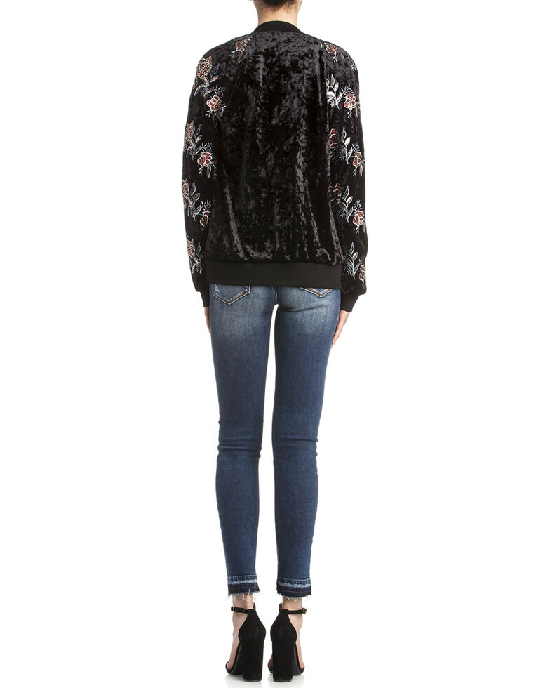 Miss Me Women's Velvet Floral Bomber Jacket, Black, hi-res