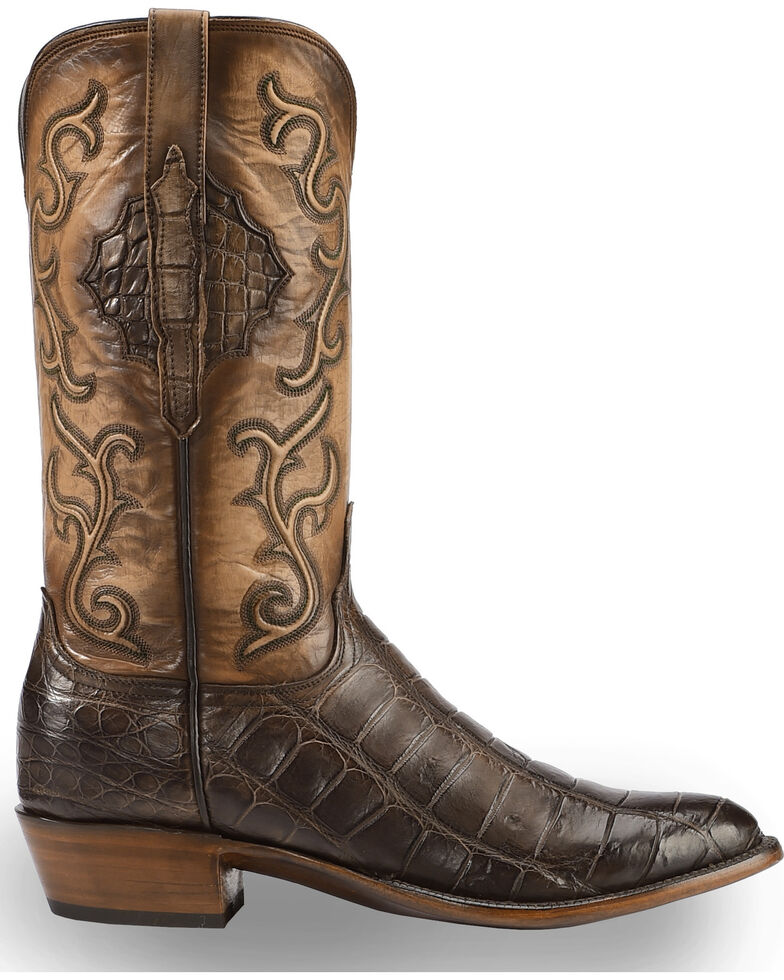 921f4b32929 Lucchese Men's Handmade Ace Chocolate Giant Gator Western Boots - Medium Toe