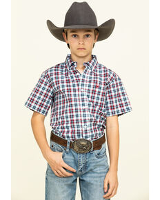 Ariat Boys' Newington Multi Plaid Short Sleeve Western Shirt , Multi, hi-res