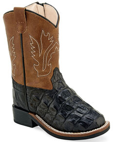 Old West Toddler Boys' Faux Leather Western Boots - Wide Square Toe, Black, hi-res