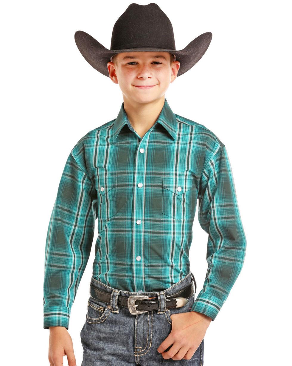 Panhandle Boys' Teal Snap Down Plaid Shirt , Teal, hi-res