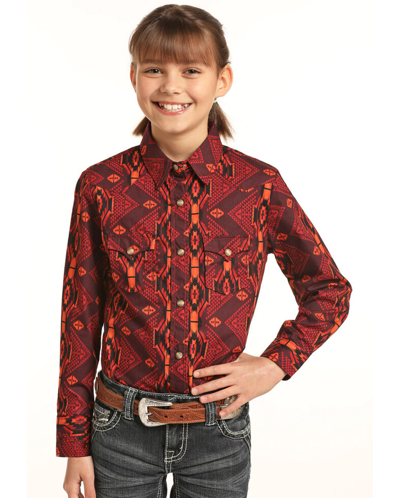 Rock & Roll Cowgirl Girls' Vertical Aztec Print Snap Long Sleeve Western Shirt, Multi, hi-res