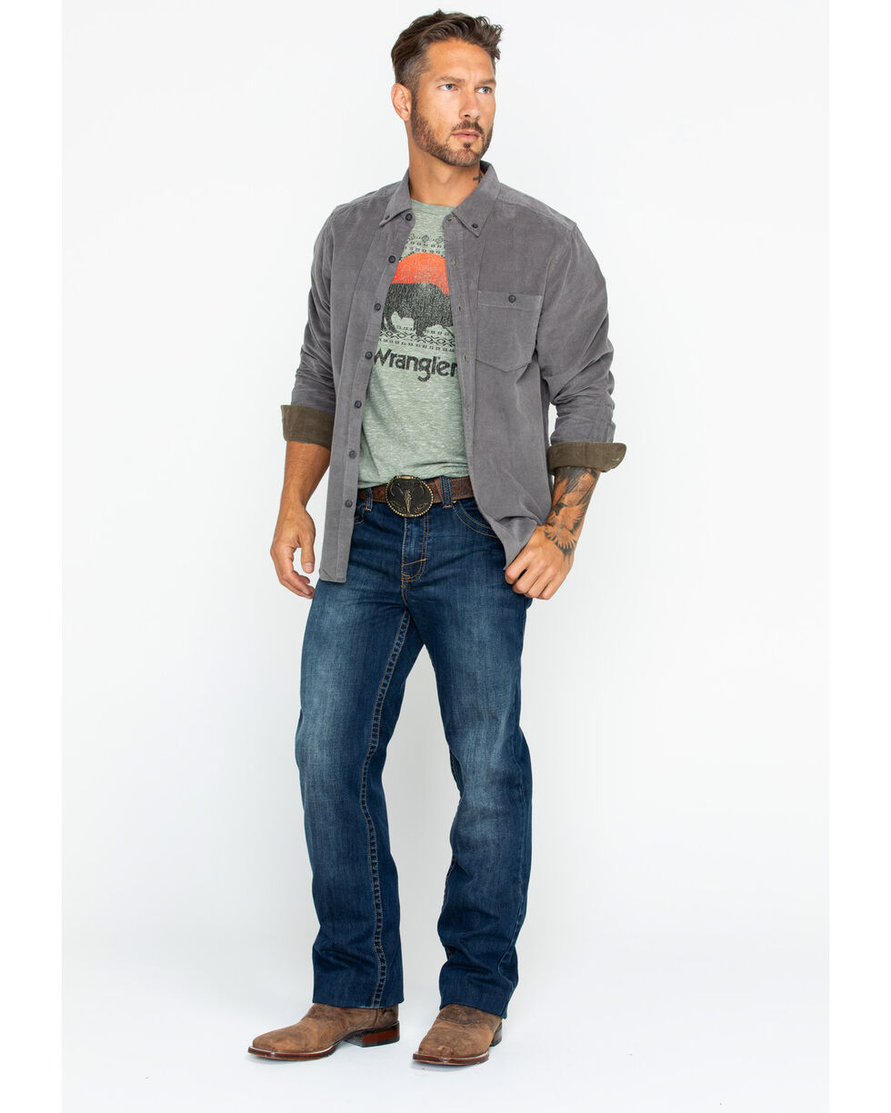 North River Men's Solid Corduroy Shirt , Grey, hi-res