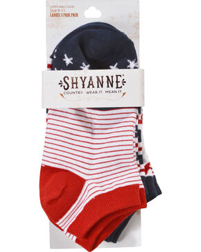 Shyanne Women's Americana No-Show Ankle Socks, Multi, hi-res