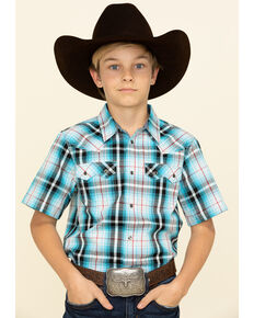 Cody James Boys' Firefly Plaid Short Sleeve Western Shirt , Red/white/blue, hi-res