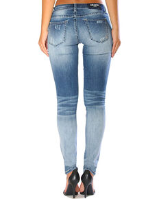Grace in LA Women's Faded Light Destruction Jeans - Skinny , Indigo, hi-res
